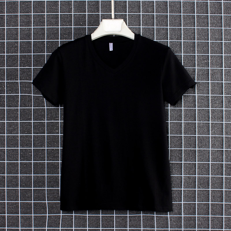 Summer V-neck t-shirt mens short sleeve Korean slim trend solid color mens T-shirt little youth summer top cotton trend