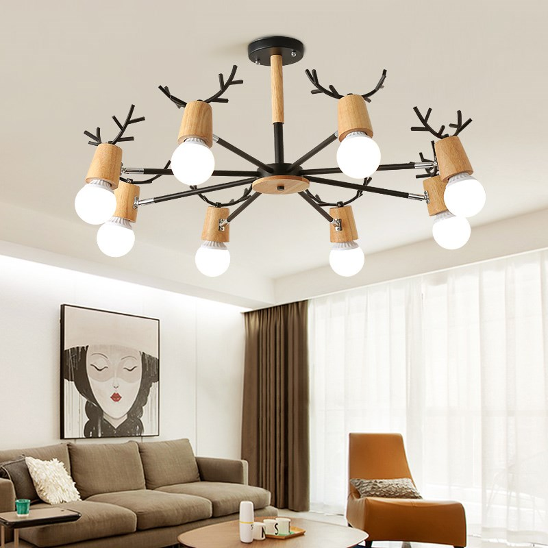 北欧风格客厅大厅原木吊灯现代简约实木卧室吸顶吊灯铁艺鹿角灯具