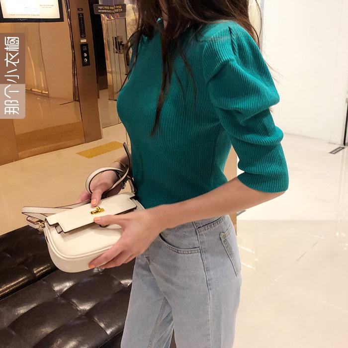 现泡泡袖韩国代购东大门女装2021短袖上衣薄款针织衫短款毛衣早秋