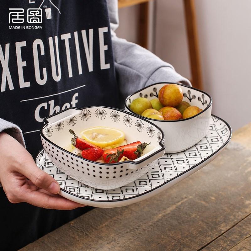 日式田园风手绘一人食陶瓷餐具碗碟套装家用西餐盘早餐盘菜盘吃饭