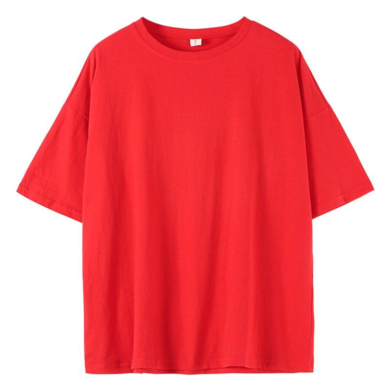 橙色白体彩色果绿色网红t恤女潮2019新款短袖纯棉芥末绿砖红色(非品牌)