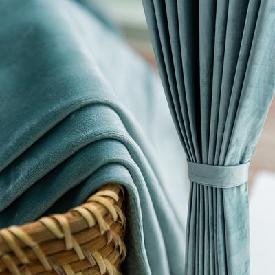 北欧ins风轻奢天鹅绒布窗帘成品简约现代全遮光卧室客厅纯色丝绒