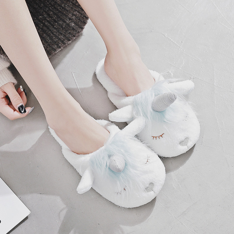 板防滑室内棉拖鞋包邮秋冬天季可爱卡通独角兽男女生情侣款居家地