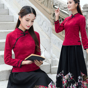 民族风女装秋装长袖改良旗袍中国风中式唐装民国汉服复古上衣显瘦