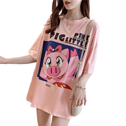 2019夏季新款韩版可爱小猪印花t恤