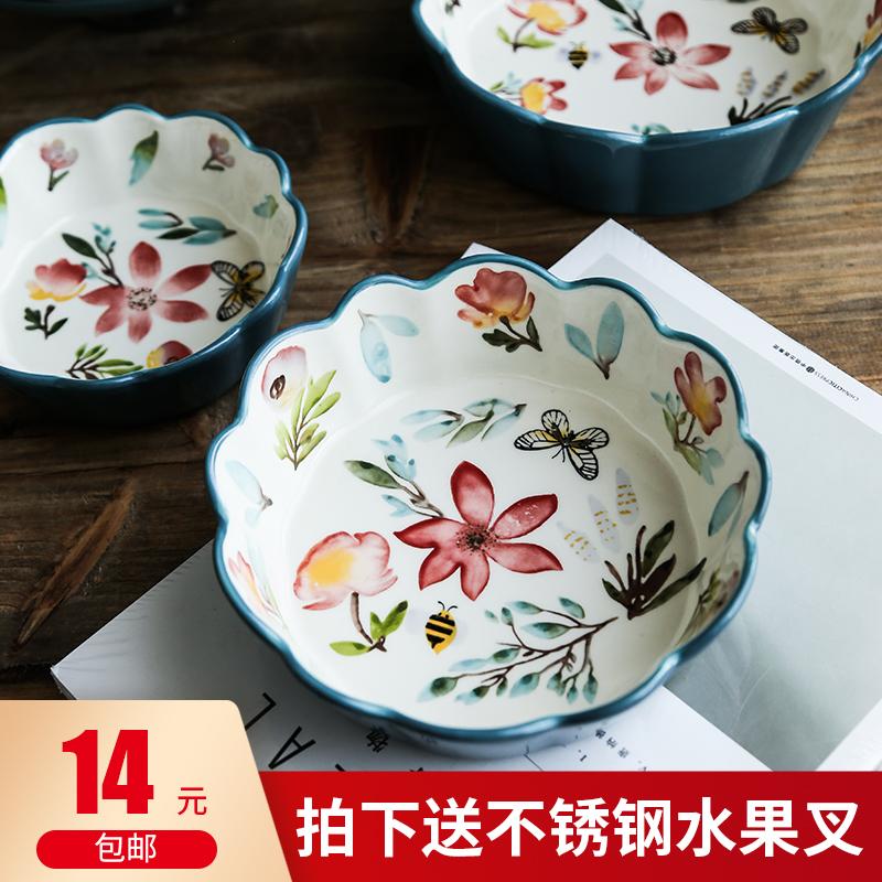 北欧风日式创意家用陶瓷碗盘手绘复古花边碗饭碗点心水果盘高脚盘