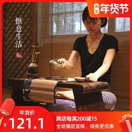 日式榻榻米茶桌实木可折叠矮桌炕桌炕几桌子家用阳台飘窗小茶几