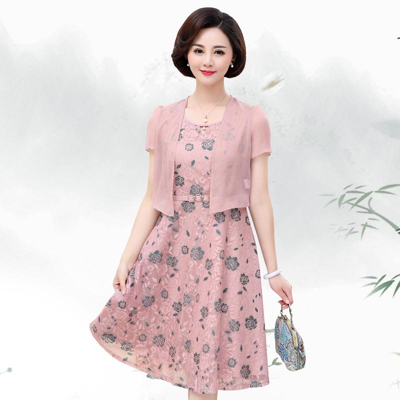 气质中年妈妈装夏装短袖连衣裙40岁50中老年大码女装两件套裙子