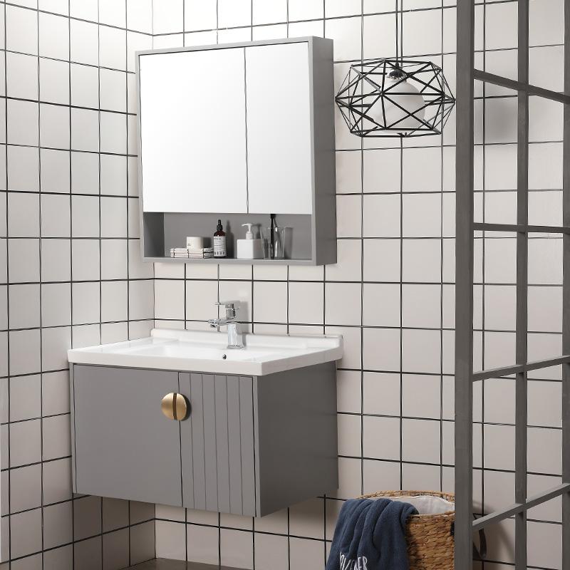 11-28新券浴室柜组合工业风白灰色轻奢洗漱台北欧风免漆板实木洗手盆柜组合