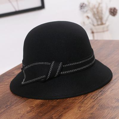 帽子女秋冬保暖羊毛呢盆帽渔夫帽英伦复古名媛圆顶蝴蝶结毛呢礼帽