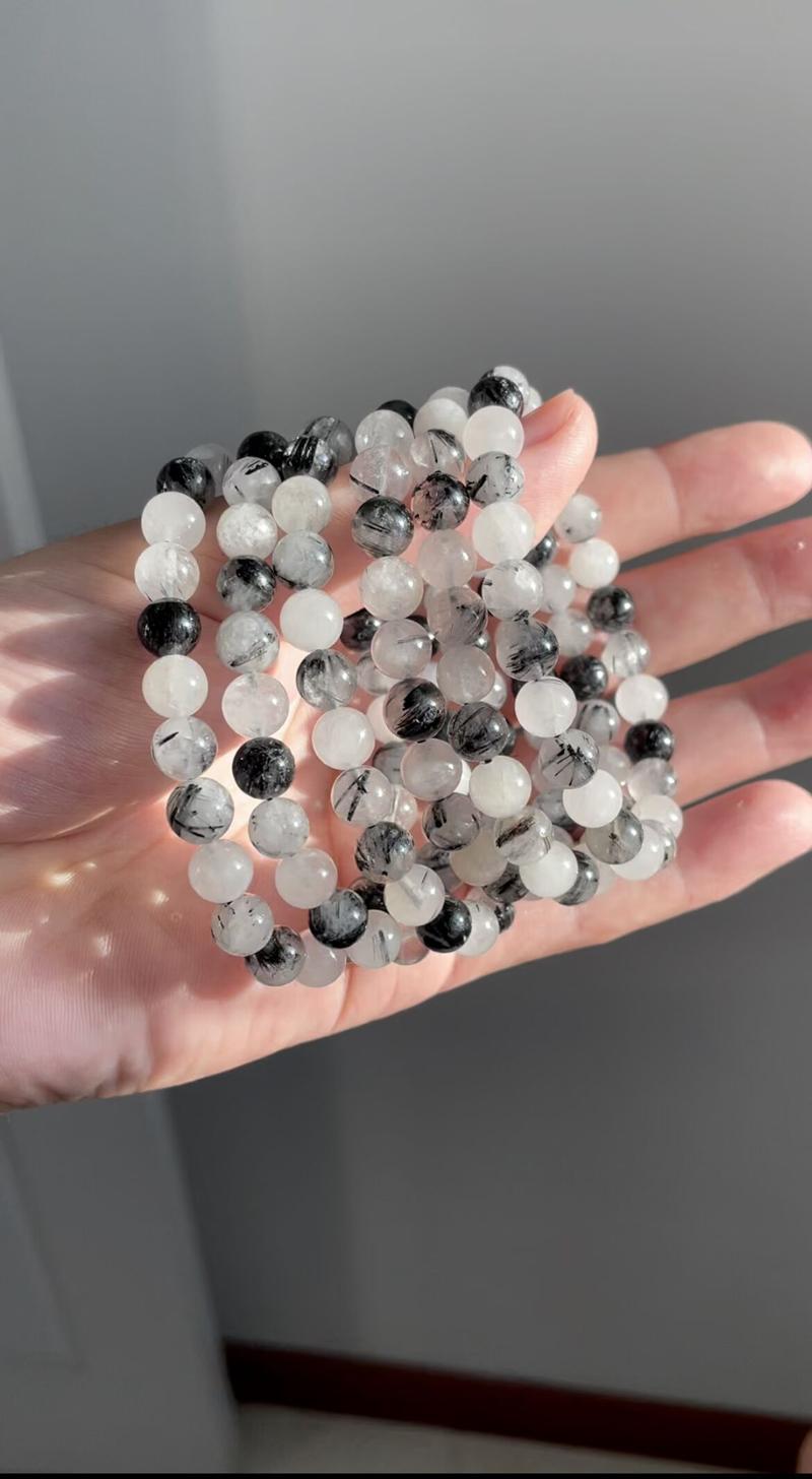 有福珠宝首饰水墨中国风天然黑发晶手链女款水晶宝石包邮