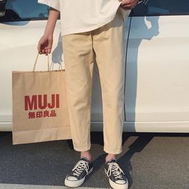 裤子男夏季韩版潮流长裤休闲裤男士直筒裤宽松工装西裤阔腿九分裤