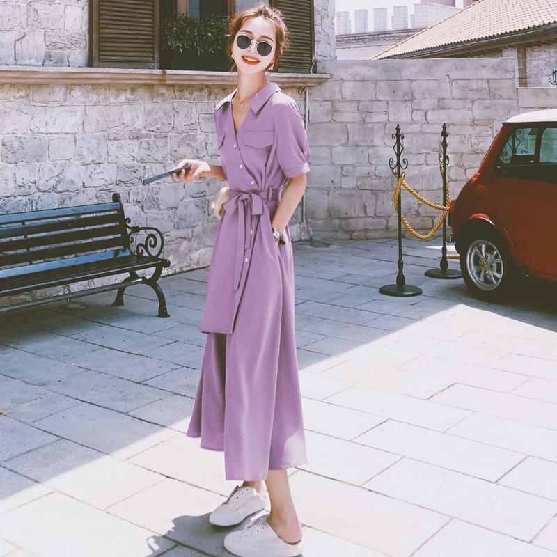 香芋紫法式连衣裙女夏季2021新款气质女神范收腰显瘦雪纺桔梗长裙