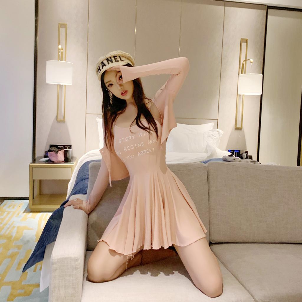 甜心2019初秋减龄修身少女风套装开衫+百褶短款细吊带裙两件套限7000张券