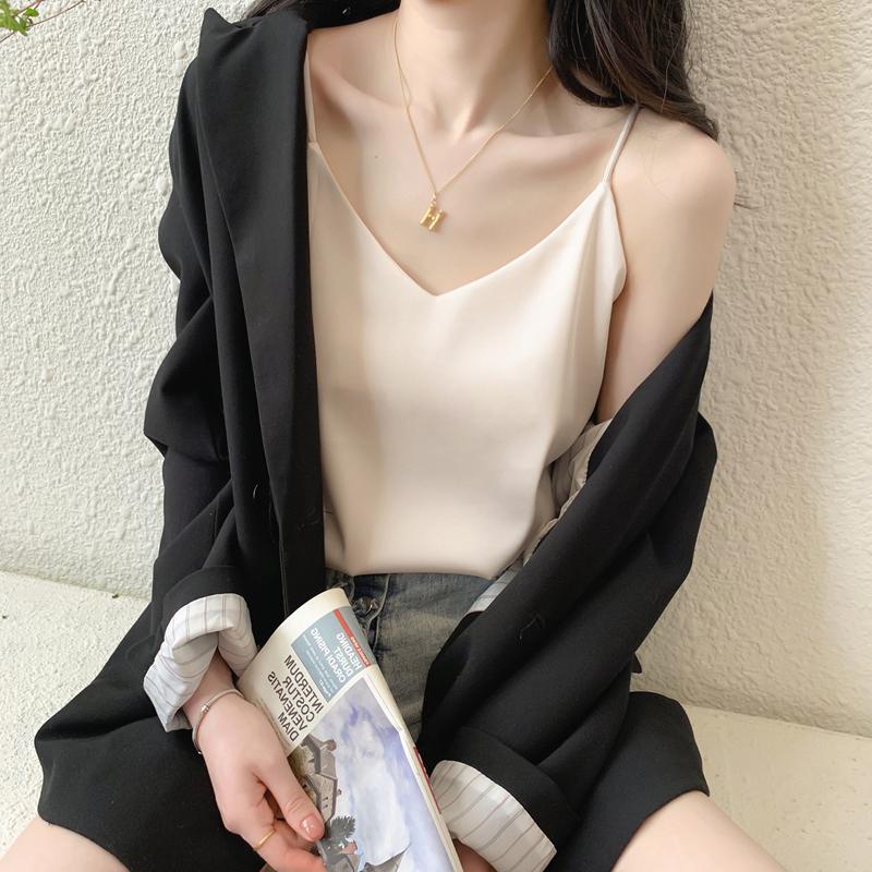 白色蕾丝吊带背心女夏打底衫外穿性感西装内搭V领真丝感无袖上衣