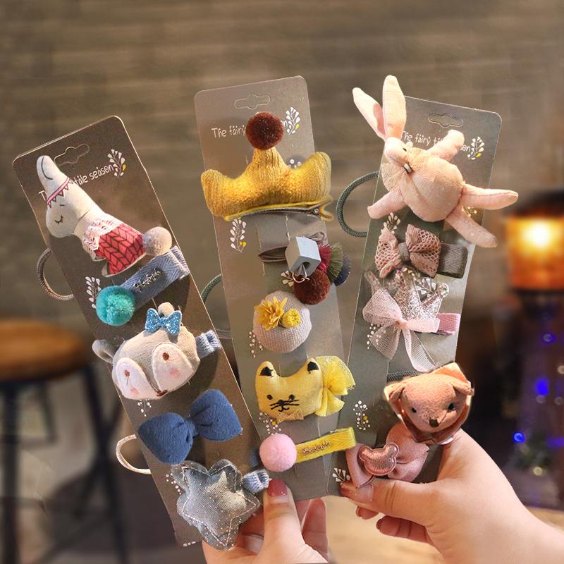 韩国儿童发夹可爱萌萌哒小兔子发饰品女童发圈皮筋头饰小女孩头绳