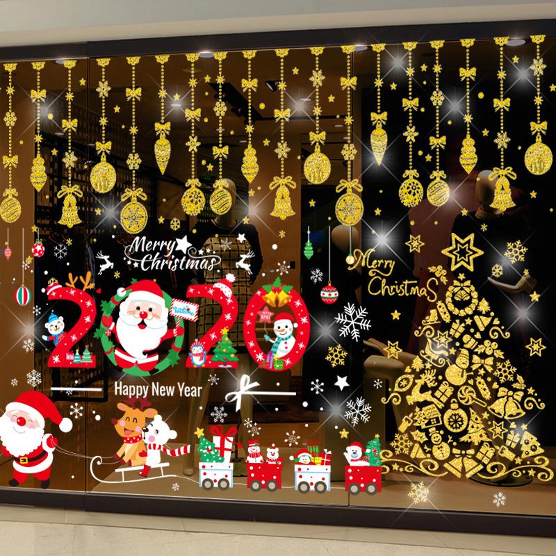 圣诞节装饰品小贴纸服装店橱窗玻璃门贴画树挂饰窗花场景布置花环