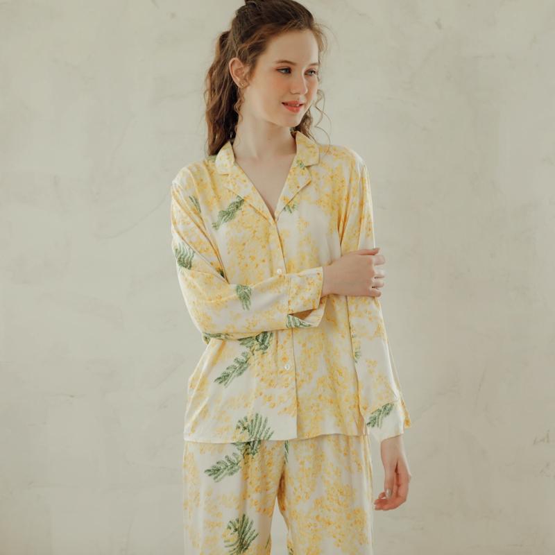 五折促销欧美风春秋棉绸长袖夏含羞草睡衣