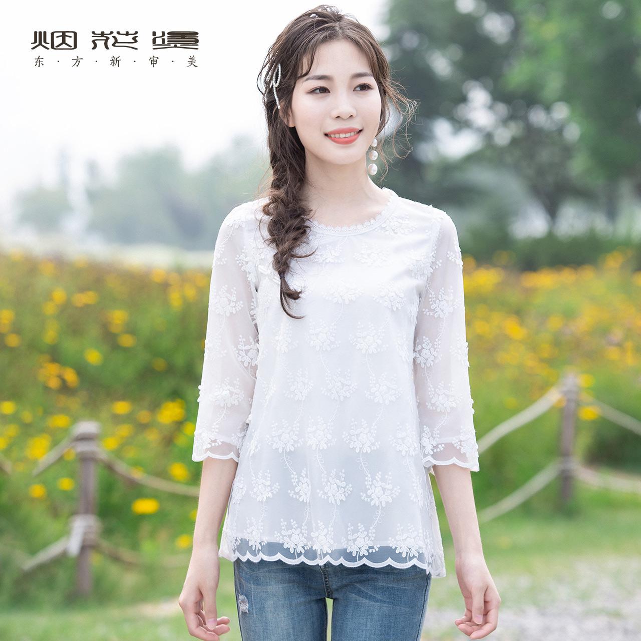 烟花烫白色蕾丝衫女2021年新款t恤
