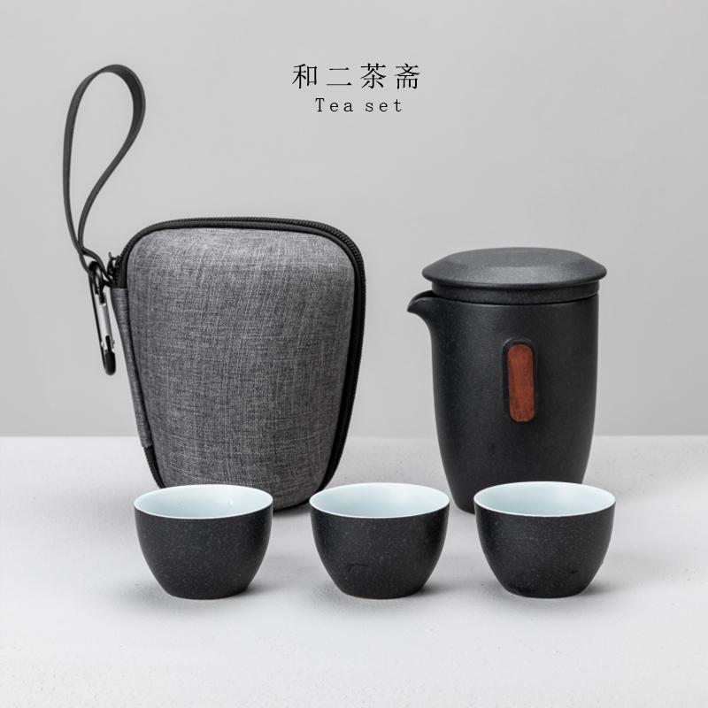 快客杯一壶三杯二杯黑陶便携式小包方便携带随身外带旅行茶具套装
