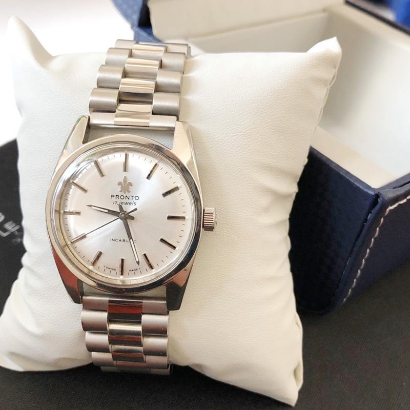 瑞士百浪多机械男士库存老货薄款手动上发条夜光防水精钢手表