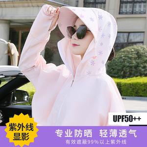 防晒衣女2020新款夏短款防紫外线显影防晒服大码透气衫骑车薄外套