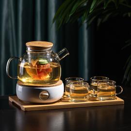 泡水果玻璃花茶壶茶具套装 日式耐高温加厚透明蜡烛可加热煮花茶