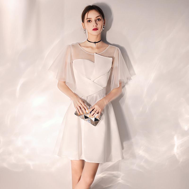 洋装小晚礼服女2019新款白色宴会高贵气质名媛显瘦伴娘服短款秋季
