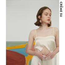 CremeSu轻性感Shimmer微光系列花瓣刺绣拼接真丝小吊带背心打底