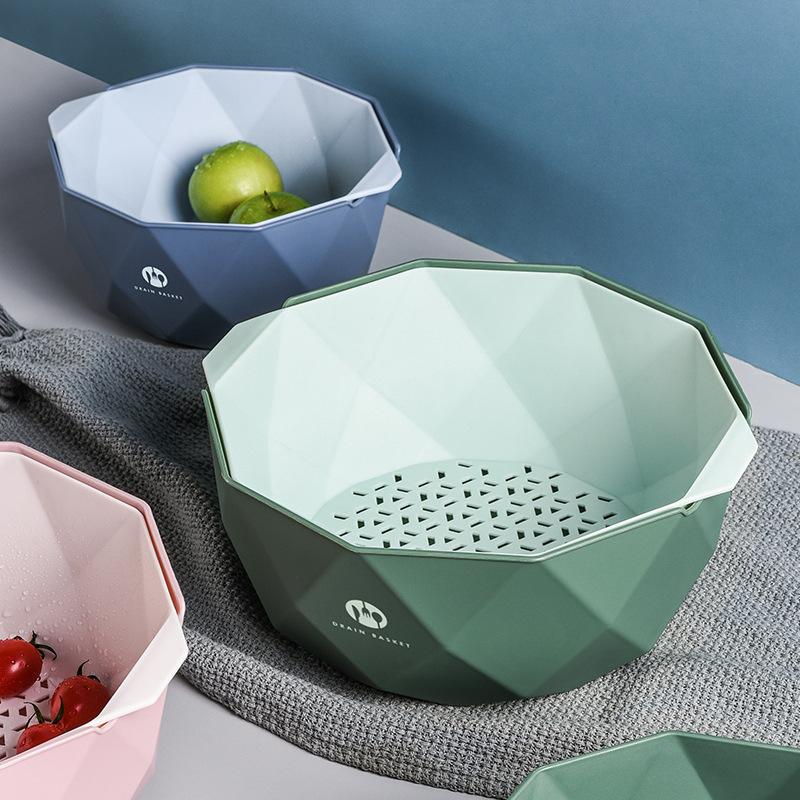 水果盘北欧风格创意ins客厅家用厨房双层洗菜盆沥水篮洗水果篮子