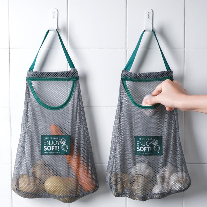 可挂式大蒜兜挂袋网袋厨房洋葱果蔬生姜蒜头收纳袋多功能手提袋子