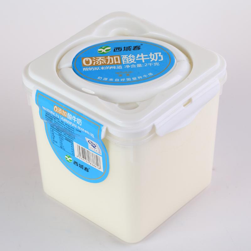 西域春原味桶装酸牛奶2000克4斤*1大桶全脂风味发酵乳航空包邮图片