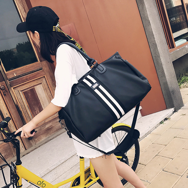 One shoulder travel bag womens portable large capacity short haul luggage Oxford cloth shoes sports fitness bag mens fashion