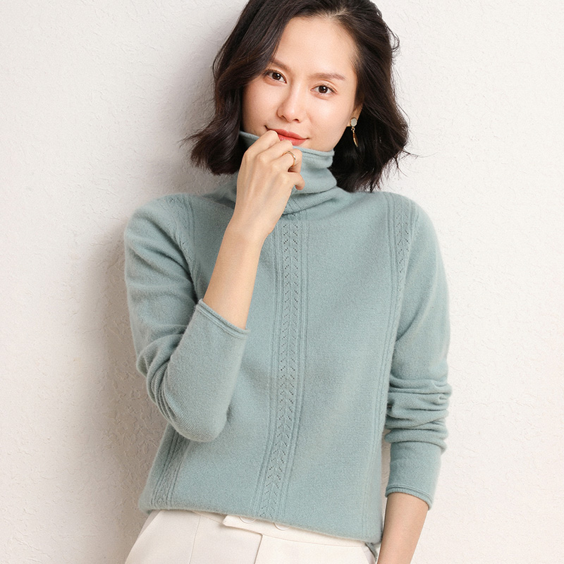 Cashmere sweater womens pile neck Pullover fashion base sweater hollow knitting crimped sweater 20 autumn winter new