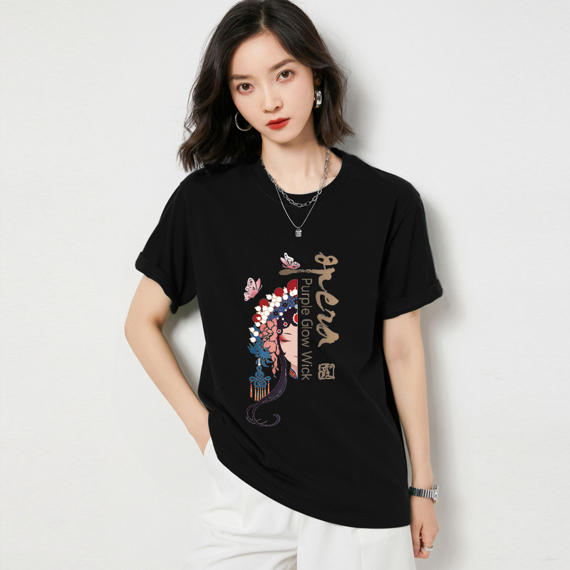 2021 womens new printed short sleeve cotton T-shirt summer new versatile top black loose half sleeve large