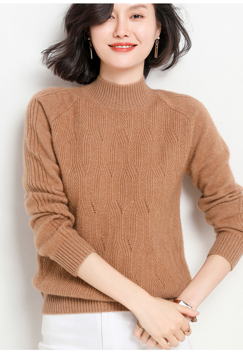 Half high collar sweater womens new hollow out Pullover short loose and lazy fashion sweater
