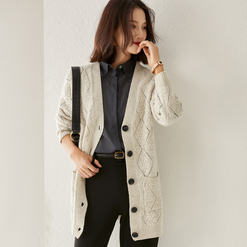 Autumn new hollow out medium length V-neck knitted cardigan womens simple cardigan womens versatile jacket leisure