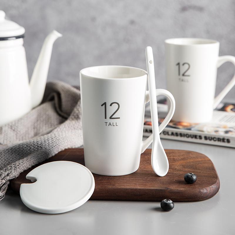 即物 咖啡杯马克杯子创意个性潮流家用陶瓷杯带盖勺大容量麦片杯