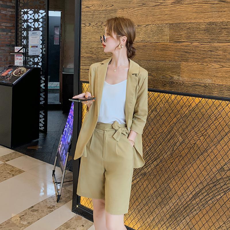 现货秒发2020夏韩版休闲洋气短裤薄款两件套套装女B10-P100-K158