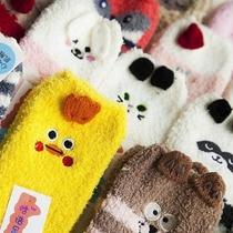 韩国正品潮卡通插画中筒袜子女学院风纯棉女袜可爱少女短袜棉ins