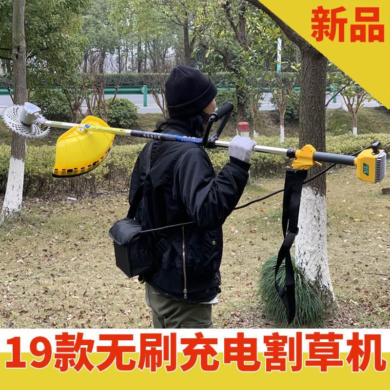 12月02日最新优惠无刷电动割草机小型打草机背负割灌机充电式多功能家用修剪除草机