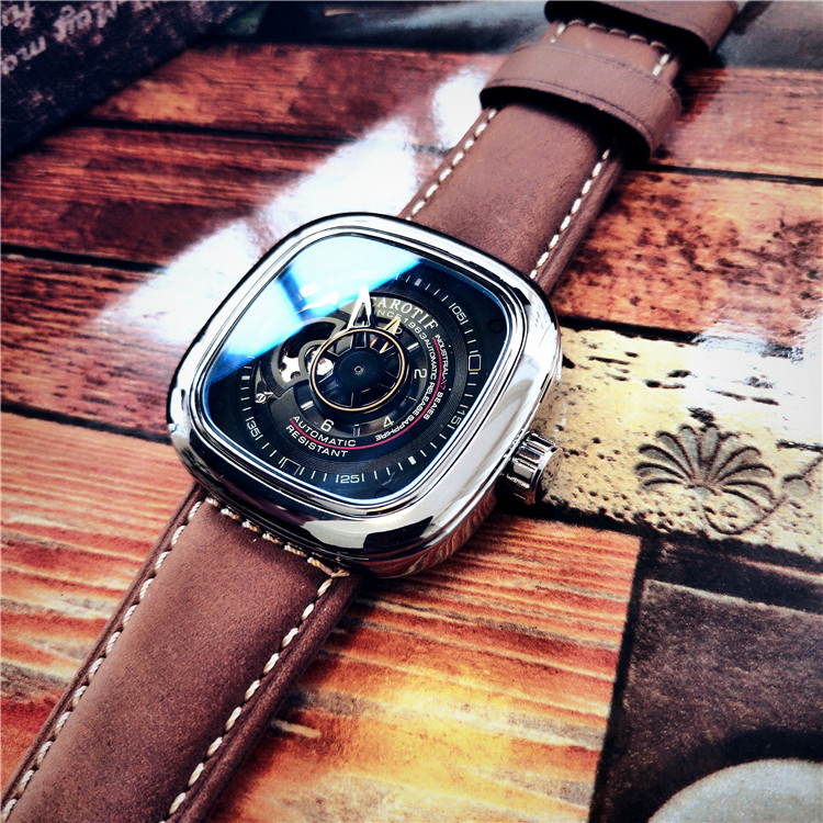 American authentic Steampunk Style Watch hollow out full-automatic mechanical watch square large dial fashion male student Watch