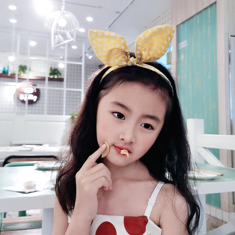 (用8元券)萌莺女童蝴蝶结发卡可爱兔耳朵小女孩布艺防滑儿童发箍宝宝头箍