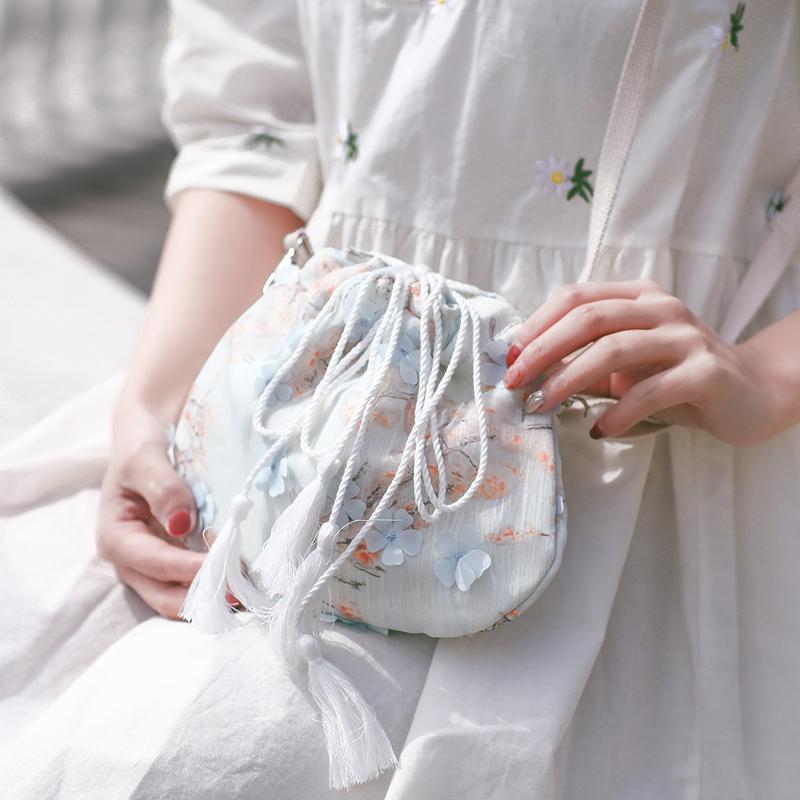 包包女2020新款森系小包帆布斜挎包中国风仙女荷包汉服古风单肩包图片