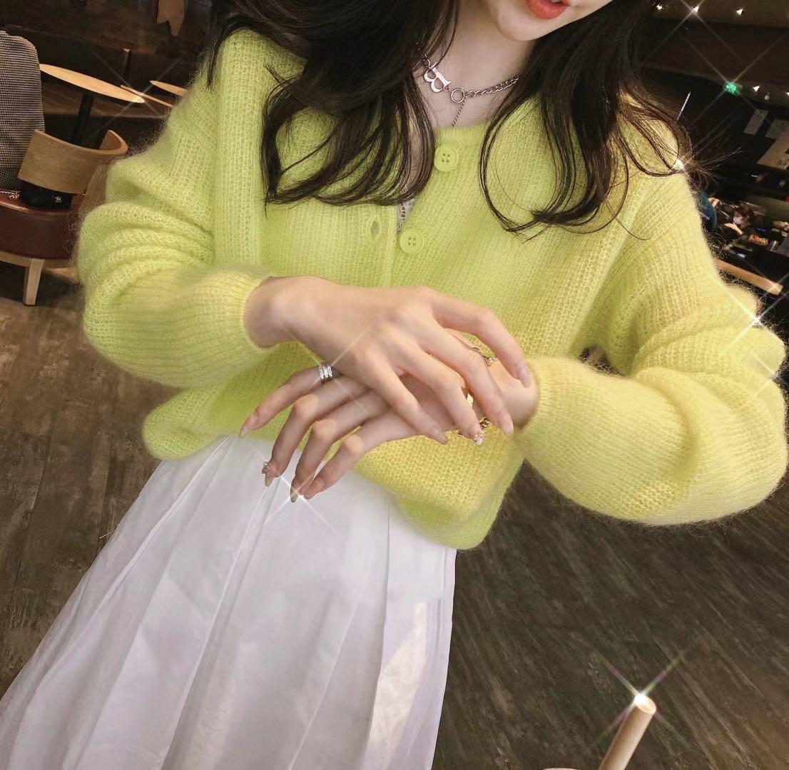 马海毛羊绒混纺圆领短款单排扣针织衫毛衣开衫外套女2021春玫粉色