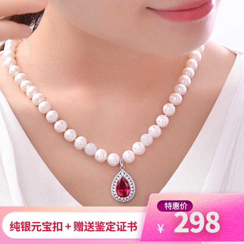 正品天然淡水珍珠项链送妈妈40-50岁礼物套装近圆珍珠百搭款纯银