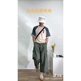 抖音武轩同款T恤夏季潮流学生宽松拼色时尚青少年半袖超火上衣男图片