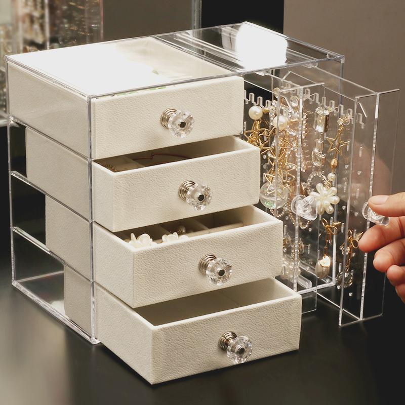 耳环首饰收纳盒家用桌面整理箱耳钉饰品项链收纳架多层珠宝首饰盒