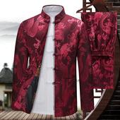 唐装 礼服中国风老人爷爷套装 男长袖 外套中老年婚礼祝寿中式 春秋季