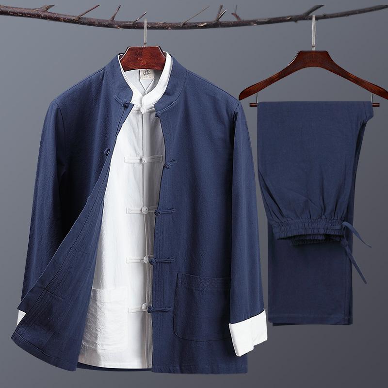 188.00元包邮唐装男士春秋季棉麻套装中式装衬衫